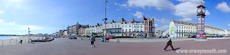 Weymouth, Dorset UK - panoramic view of the seafront including the Jubilee Clock
